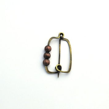 Brass Fibula with Copper Beads, Brass Brooch, Forged Jewelry, Brass Jewelry, Handmade Jewelry