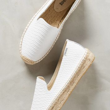 Soludos Snake-Embossed Leather Espadrilles