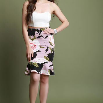 Floral High Waisted Peplum Hem Skirt | UrbanOG