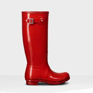Hunter - Original Tall Gloss Military Red Rainboot