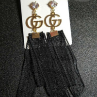 GUCCI New Fashion Diamond  Lace Long Section Earrings Accessories Women Black