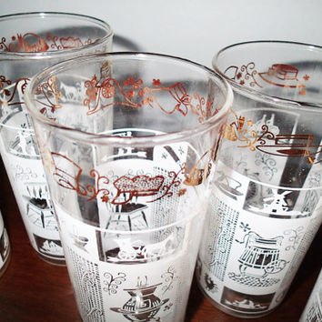 Drinkware beverage glasses white embossed colonial print gold trim, pot belly stove, rocking chair, big wheel bicycle, wood wash machine