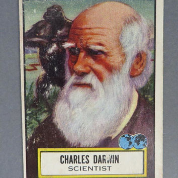1952 TOPPS Look 'n See Card, Charles Darwin Collector's Card, No. 124 Famous Americans 2nd Series Trading Card