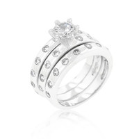 Bezel Set Engagement Ring Set, size : 10