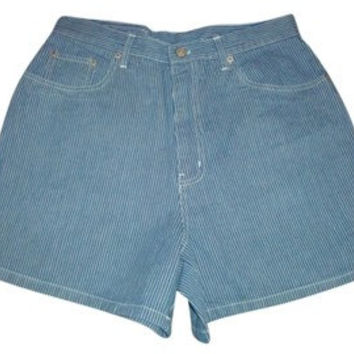 BILL BLASS VINTAGE Stripe high waisted denim shorts jeans size 9 10
