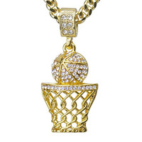 "14k Gold Plated Mini Basketball Rim Pendant 24"" Cuban Link Chain"