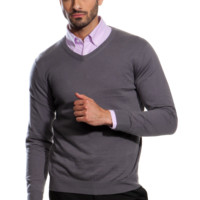 Charcoal V-Neck Cotton-Cashmere Sweater