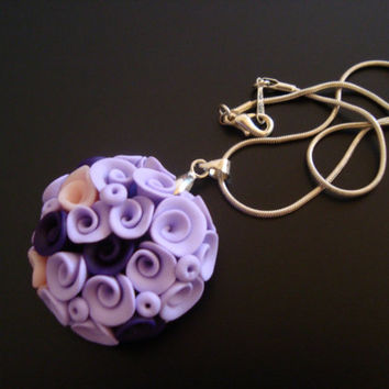 Rose Bouquet Necklace. Flower Pendant -  lilac , Deep Purple and Pink Necklace. Flower Jewelry. Purple Jewelry