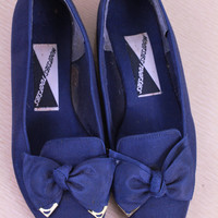 intage - 80s/90s - Navy Blue - Large Bow - Wing Tips - Flats - Shoes - 8.5 - Nautical