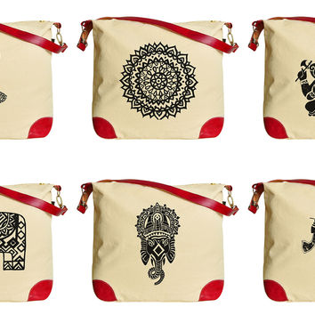 Ornamental Indian Elements Print Canvas Leather Trap Tote Shoulder Bag WAS_33