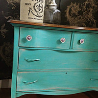 CHALK PAINT FURNITURE Turquoise Blue Vintage Antique Dresser, Stained Wood Top, Shabby Cottage Chic