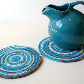 Clothesline Coiled Trivets  Set of Two  Aqua Snack Mats  Handmade Fabric Placemats  Large Mug Rugs  Homemade Candle Mats