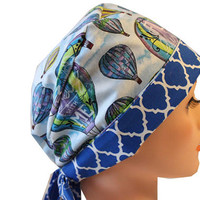 Scrub Hat Medical Surgical  Cap Chemo Chef Nurse Doctor Hat Tie Back Front Fold Pixie Blues Purples Hot Air Balloons 2nd item ships Free