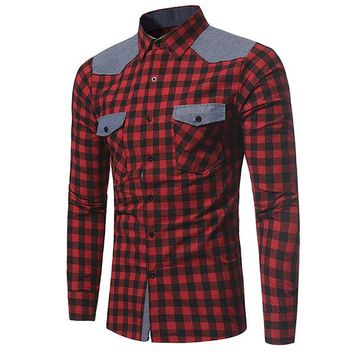 British Style Stylish Patchwork Stitching Checked Designer Shirts for Men