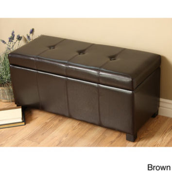 Franklin Large Rectangular Brown Faux Leather Storage Ottoman Bench