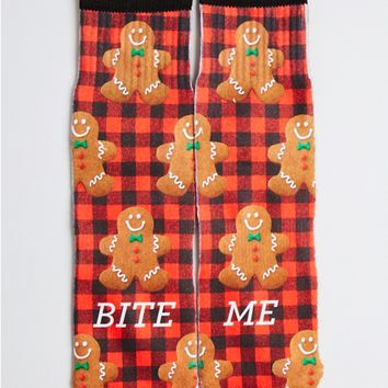 Bite Me Gingerbread Ankle Socks