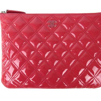 Authentic CHANEL Matelasse Clutch Bag Quilted Patent Leather Pink