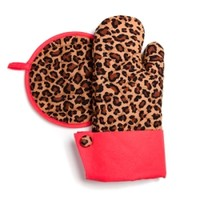Grandway ™ Leopard Print with Red Trim Oven Mitt & Hot Pad :: Welcome to NeatlySmart™ :: Good things for your home & family™