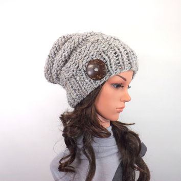 Chunky Extra Slouchy Buttoned Hat Beanie Toque // The Arena // in Grey Marble