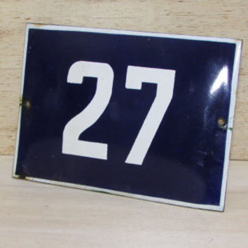 Vintage French Blue House Number, Door Number 27, Preservede French Enameled Sign Number 27, Street Sign Number 27, Blue Enamel Metal Plate