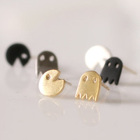 Cute and tiny pacman post earrings. Choose your by DoubleBJewelry