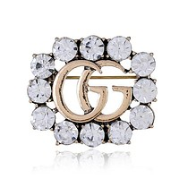 "Hot Sale ""Gucci"" Popular Women Chic GG Letter Crystal Diamonds Brooch Accessories Jewelry"