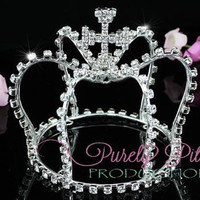 Small Crystal Crown with Cross. Baby Crown, Baby Tiara. Newborn Crown, Newborn Tiara. Photography prop. Pageant Crystal Tiara .Flower Girl