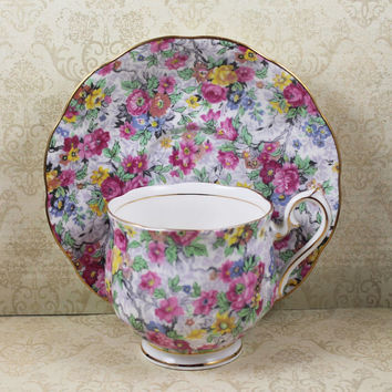 Vintage 1950s Royal Albert Chintz Multi Colored Floral English Bone China Tea Cup and Saucer Set