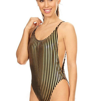 Black and Gold Striped One Piece Retro Swimsuit