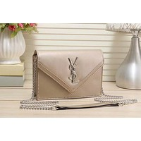 YSL Yves Saint Laurent Fashion Women Shopping Leather Metal Chain Simple Crossbody Satchel Shoulder Bag Golden I-LLBPFSH