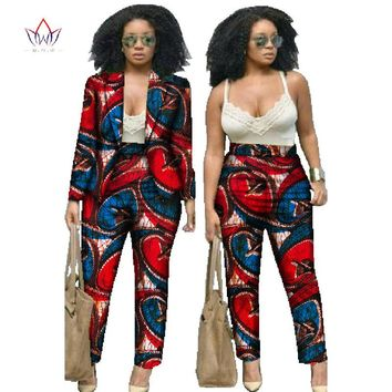 BRW 2017 Autumn African Print 2 Piece Set For Women Spring Dashiki Pant and Crop Top Bazin Riche African Clothing for Lady WY019
