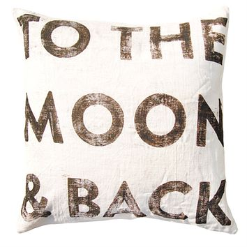 To The Moon and Back Pillow by Sugarboo