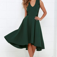 Hazel Room Service Dark Green Lace Midi Dress