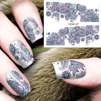 Water sticker for nails art all decorations sliders flowers lace Bohemia adhesive nail design decals manicure lacquer foil  4