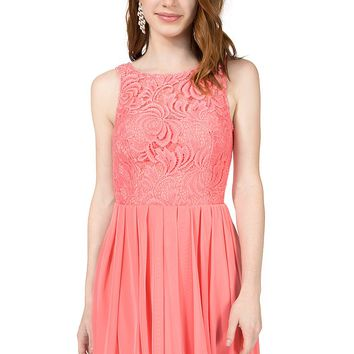 Teeze Me | Sleeveless Lace Illusion Top Pleated Dress | Peach