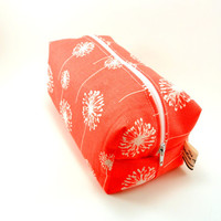 Coral and White Dandelion Makeup Bag, Cosmetic Pouch, Under 15, Travel Size, On The Go, Boxy Pouch, Heavyweight, Pencil Case