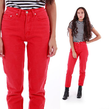 90s Jordache High Waisted Red Jeans Tapered Vintage Denim Trousers Womens Clothing Size Small 3/4