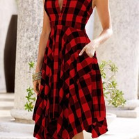 Red-Black Plaid Single Breasted Draped Pockets Irregular V-neck Sleeveless Midi Dress