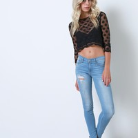Endless Lace Crop Top - Black