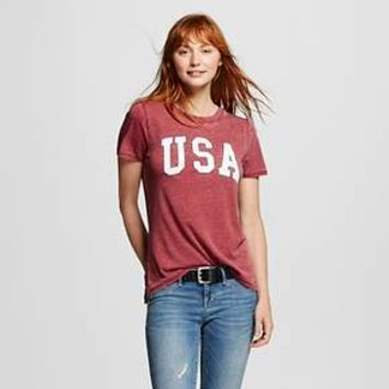 Women's USA Burgundy Graphic Tee - Modern Lux