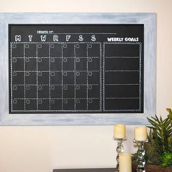 Rustic Framed Chalkboard Magnetic - Handmade Idea Board - Wall Hanging Magnetic Organizer - Teacher Planning - Horizontal Layout - 2 X 3 ft