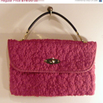 On Sale 1960's Red Authentic Carpet Bag Purse Original Jerry Terrence Carpet Bag