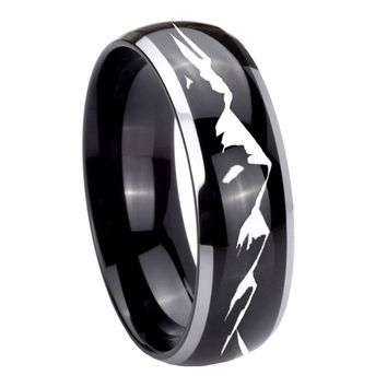 8MM Glossy Black Dome Sound Wave I love you 2 Tone Tungsten Laser Engraved Ring