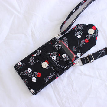 Cell phone purse mobile phone bag small crossbody cell phone bag small purse side bag zipper pocket in black white and red MADE to ORDER
