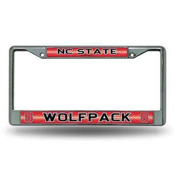 NC State Wolfpack NCAA Glitter Bling Chrome License Plate Frame Car Truck Wall