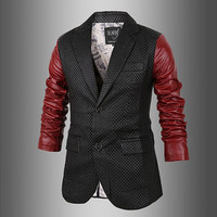 Men Fashion Slim Fit Leather Blazer Jacket