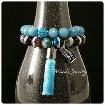 10mm Double Stack Jade and Agate Beaded Bracelet Set with Silk Tassel, Alloy Spacers and Custom Jewelry  Tag.