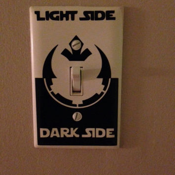 Star Wars Light Switch Decal featuring Rebel Alliance and Empire symbols.
