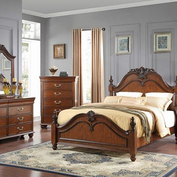 New Classic 8651-310 5 pc jacquelyn collection cherry finish wood headboard queen bedroom set