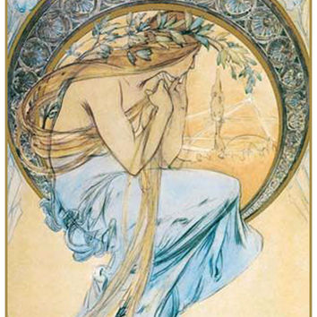 Sketch for The Arts Poetry  by Alphonse Mucha Counted Cross Stitch or Counted Needlepoint Pattern
